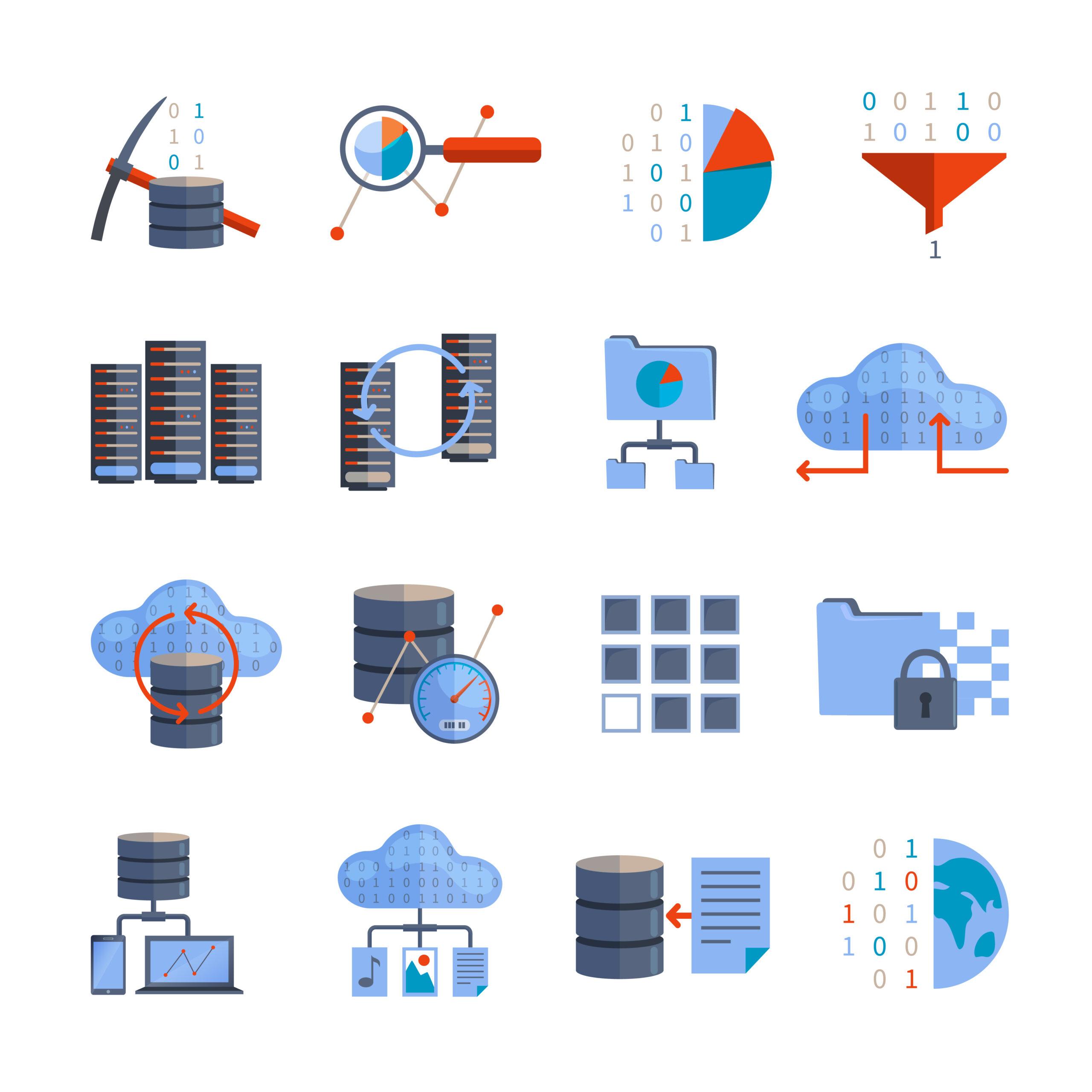 Imagem de ícones ilustrados para Base de Dados de Recursos energéticos Distribuídos
