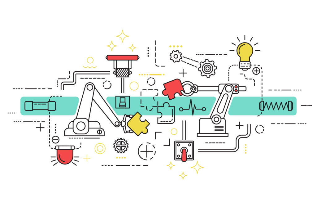 ilustração de inovação em processos industriais