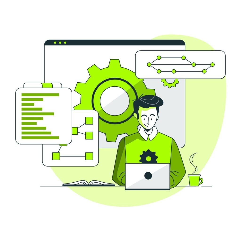 Ilustração de software para inovação